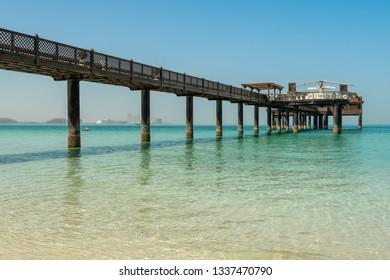 Pier with bar and restaurant at Jumeirah Beach, Dubai.