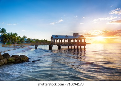 Pier at the beach on sunrise in Key West, Florida USA