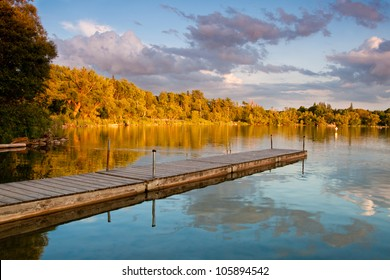 A pier in a beautiful lake in Ontario
