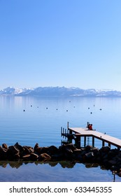 Pier at beautiful Lake Tahoe at the end of winter.