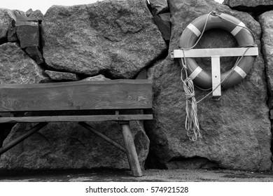 Pier bench and lifebuoy, Leirvik, Faroe Islands