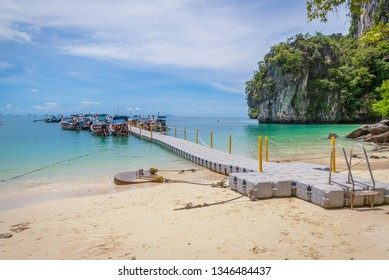 Pier with boats on the island, Krabi, Thailand