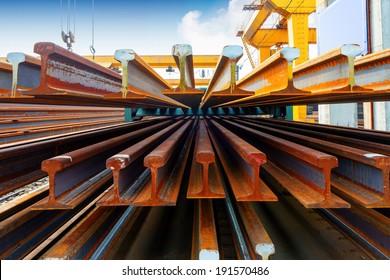 Pier bridge crane and cargo handling, cargo trains transported away.