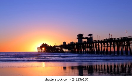 Pier in California at sunset