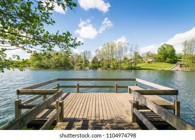 Pier in Carwitz at lake Carwitzer See in Mecklenburg Vorpommern, Germany