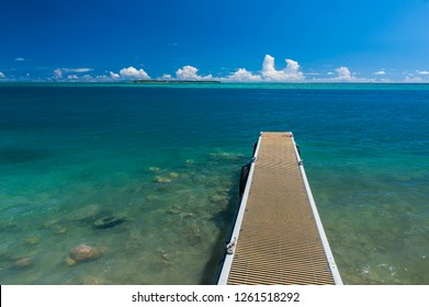 Pier with Ccocs island in the background, Guam, US Territory, Central Pacific