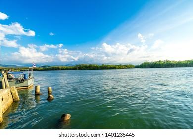 pier at coastline in Thailand