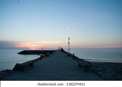 pier at dawn in Liguria at Laigueglia