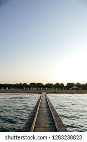 Pier Dock Beach of Lido di Jesolo summer day