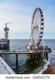 Pier and Ferris Wheel in Scheveningen, The Hague, South Holland, The Netherlands