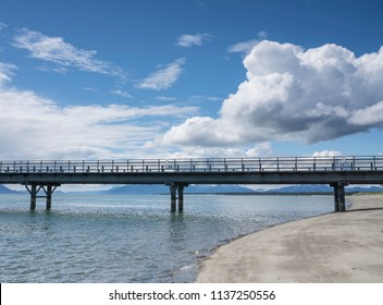 Pier to the Ferry Terminal and dock in Gustavus Alaska in summer.