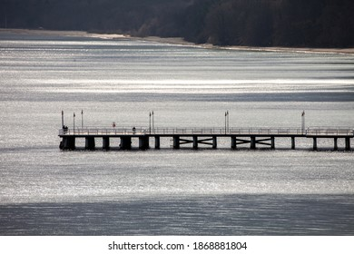 Pier in Gdynia Orlowo, Poland, view form Orlowo Cliff