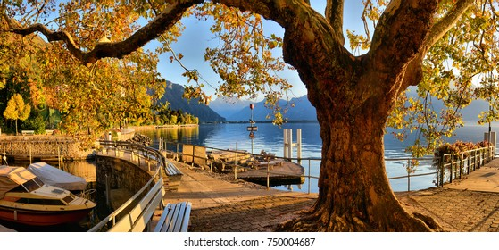 Pier at Geneva Lake in Montreux Vaud canton Switzerlandof  in autumn