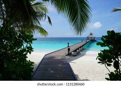 Pier going out into the water at Baa Atoll, Maldives
