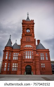 Pier head Building, Cardiff Bay, Cardiff Wales  The Victorian red brick Pier head Building at Cardiff Bay.