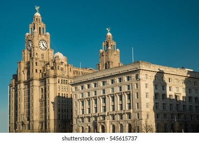 Pier Head with the Royal Liver Building and Cunard Building.