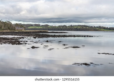 Pier house, Forest , trees reflection and Lake in Strangford lough, Northern Ireland, UK