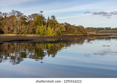 Pier house, Forest , trees reflection and Lake in Strangford lough at sunset, Northern Ireland, UK