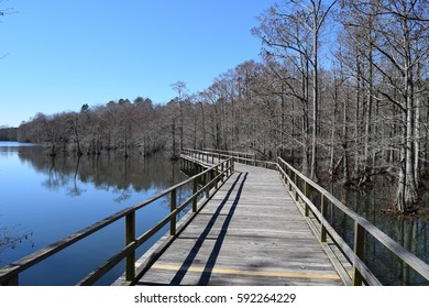 Pier into the lake in Wall Doxey State Park, Mississippi