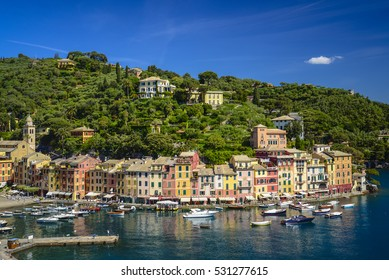 Pier of Italian Riviera with many colorful buildings