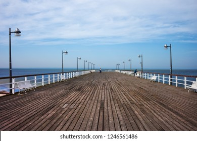 Pier in Jastiarnia town on Hel Peninsula on the Baltic Sea in Puck County, northern Poland.