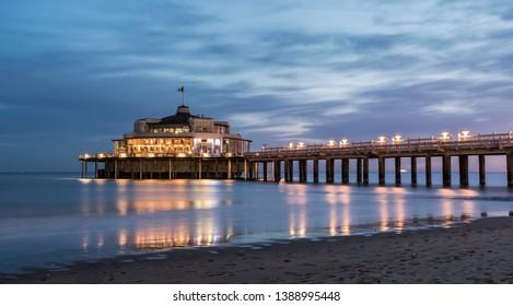 Pier, Jetty of Blankenberge, Belgium at sunrise