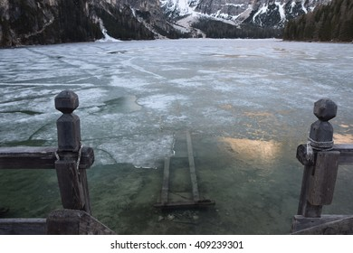 the pier lake braies dolomites italy south tyrol