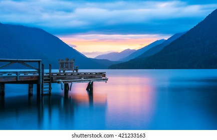 pier in lake Crescent when sunset, in Olympic national park,Washington State.Usa
