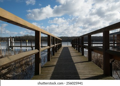 A pier at a lake in the morning-winter