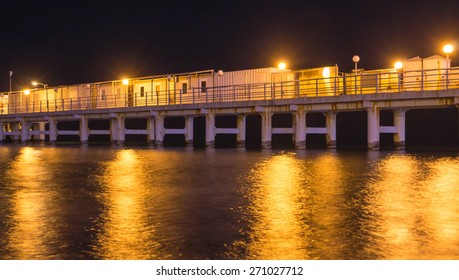 Pier lights provide people with a site to view at nightime