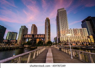 Pier and Long Island City at sunset, seen from Gantry Plaza State Park, Queens, New York.
