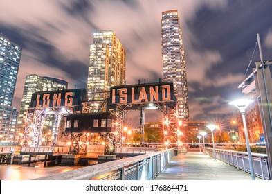 Pier of Long Island near Gantry Plaza State Park - borough of Queens - New York City