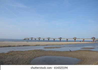 Pier in Miedzyzdroje over Baltic Sea, Poland, Europe.