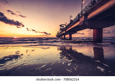 Pier in Miedzyzdroje resort - Baltic seascape at sunset, Poland