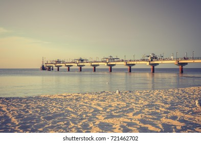 Pier in Miedzyzdroje resort - Baltic seascape, Poland
