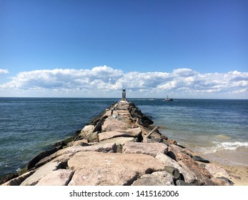 The pier at Montauk County Park on Block Island Sound in Montauk, Long Island, NY.