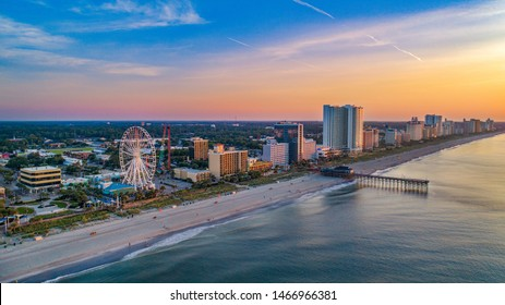 Pier in Myrtle Beach South Carolina SC Drone Aerial.