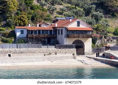 Pier near Bulgarian Orthodox monastery of Zograf in Athos, Greece