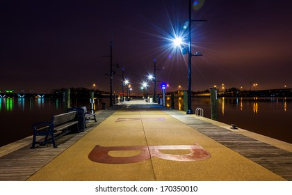 A pier at night, in National Harbor, Maryland.