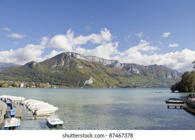 Pier on Lake Annecy in the Haute Savoie in France