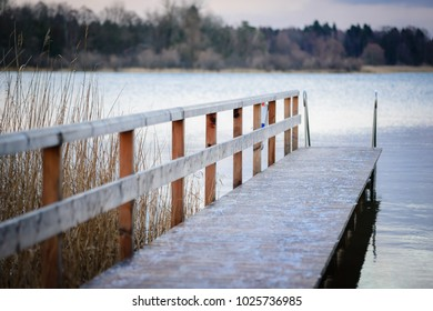 The pier on the lake Chiemsee. Prien am Chiemsee. Germany