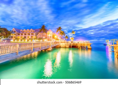 Pier on the port of Key West, Florida at sunset.