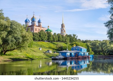 Pier on the river Trubezh close to Ryazan kremlin, Ryazan, Russia