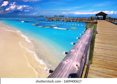 Pier over paradise Cable Beach in Nassau, the capital of the Bahamas