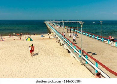 The pier in Palanga. Palanga is a seaside resort town in western Lithuania, on the shore of the Baltic Sea. It is the busiest summer resort in Lithuania and has beaches of sand and sand dunes.
