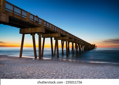Pier at Panama City Beach, Florida, at sunset