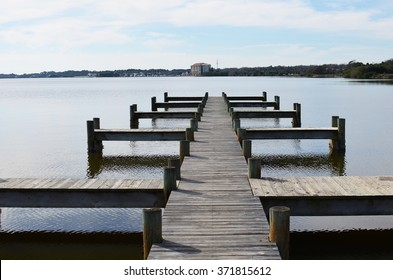 Pier path with coastline background by Melbourne in Florida, USA