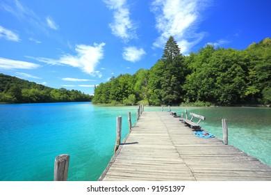 pier at plitvicka jezera national park, Croatia
