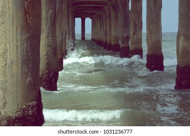 Pier with rough current