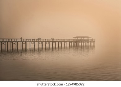 Pier in Safety Harbor on a foggy day